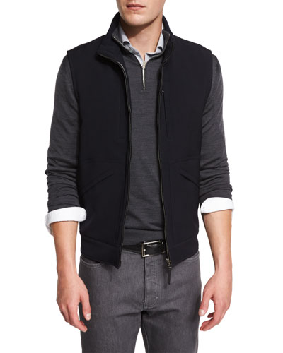 Trofeo Wool Vest w/Leather Trim, Navy