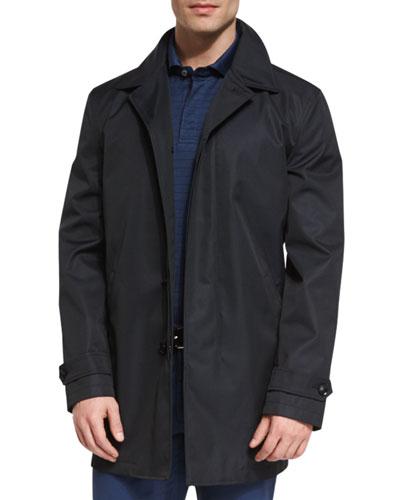 Single-Breasted Macintosh Jacket, Navy