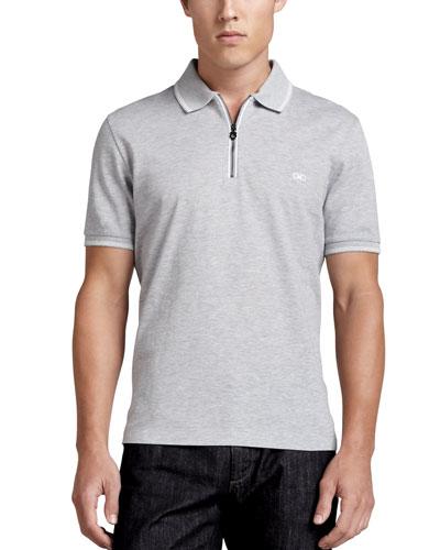 Zip Polo, Gray