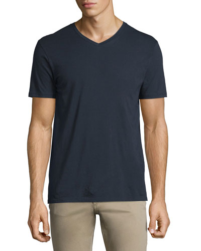 Short-Sleeve V-Neck Pima Jersey T-Shirt, Navy