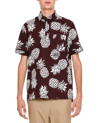 Pineapple-Print Short-Sleeve Popover Shirt, Burgundy