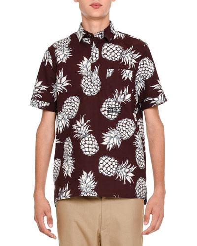 Pineapple-Print Short-Sleeve Popover Shirt, Burgundy