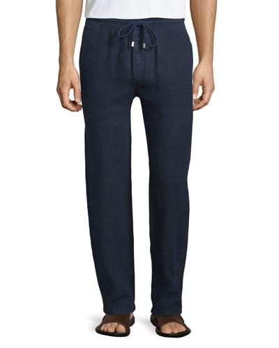 Drawstring Linen Pants, Navy