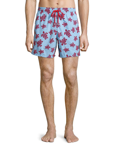 Moorea Swim Trunks W/ Flocked Turtles, Light Blue