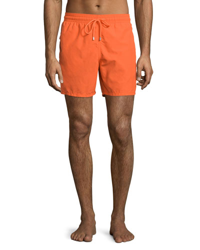 Moorea Water-Reactive Solid Swim Trunks, Orange