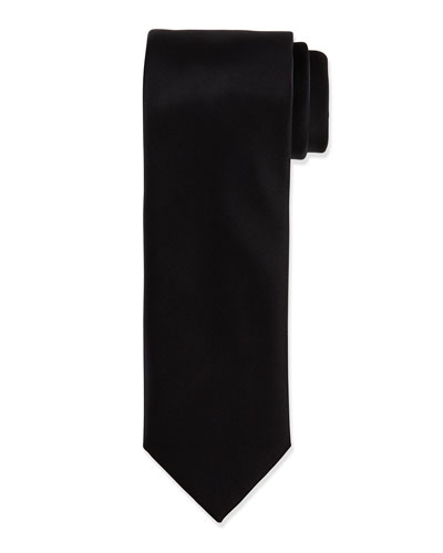 Solid Silk Satin Tie, Black