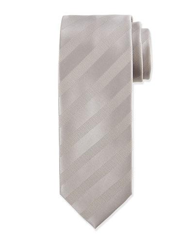 Solid Silk Satin Tie, Silver
