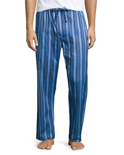 Derek Rose Satin-Striped Pajama Pants, Blue
