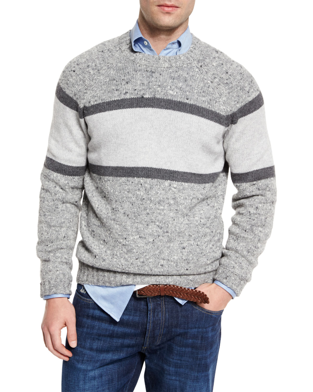 Brunello Cucinelli  STRIPED DONEGAL CREWNECK SWEATER, GRAY