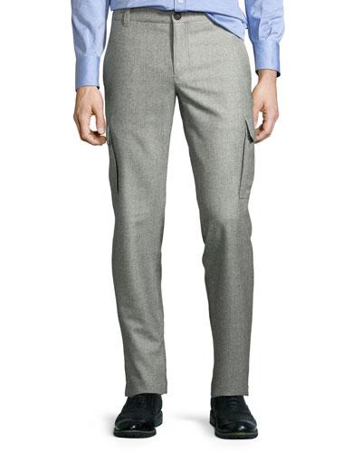 Glen Plaid Slim-Fit Cargo Pants, Gray