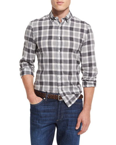 Bold Check Leisure-Fit Sport Shirt, Gray