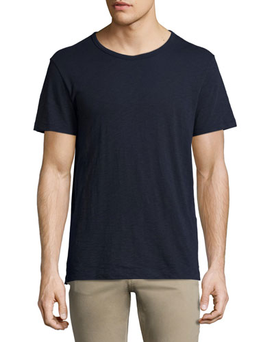 Slub Short-Sleeve Crewneck T-Shirt, Navy