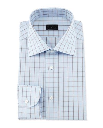 Box-Check Dress Shirt, Light Blue