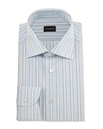 Alternating-Striped Dress Shirt, Open White Pattern