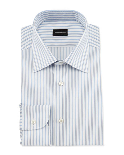 Wide Striped Woven Dress Shirt, Open White Pattern