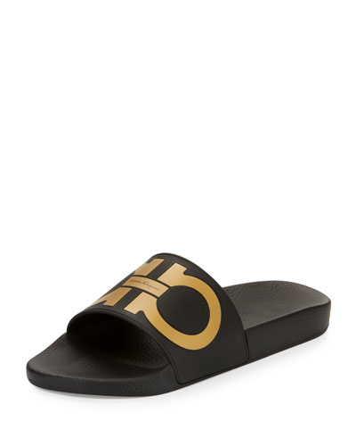 Gancini Pool Slide, Black/Gold