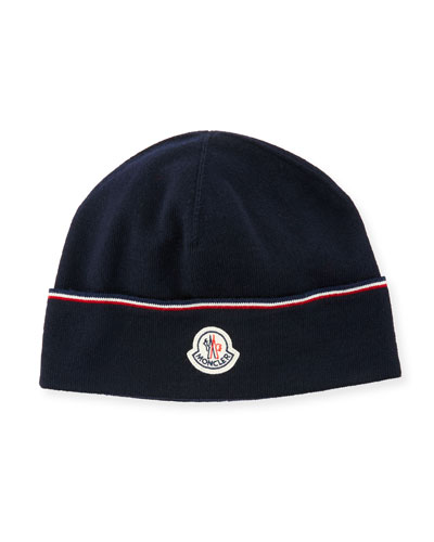 Wool Striped Logo Beanie Hat, Navy