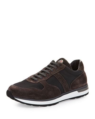 Suede & Nylon Trainer Sneaker w/Shearling Tongue, Gray/Brown