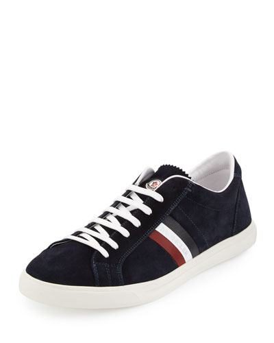 Tricolor Suede Low-Top Sneaker, Navy
