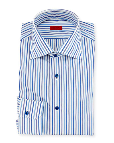 Striped Mitered-Cuff Dress Shirt, White/Blue