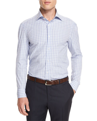 Box Check Mitered-Cuff Dress Shirt, White/Blue