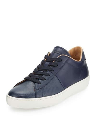 Cassetta Men's Low-Top Leather Sneaker, Navy