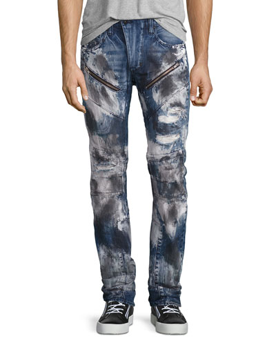 Barracuda Bleached & Distressed Denim Jeans, Dark Indigo