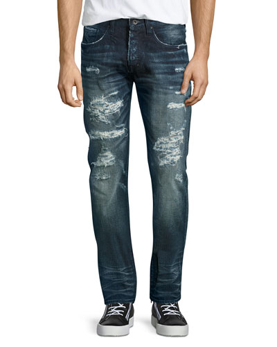 Demon Distressed Technics Denim Jeans, Dark Indigo