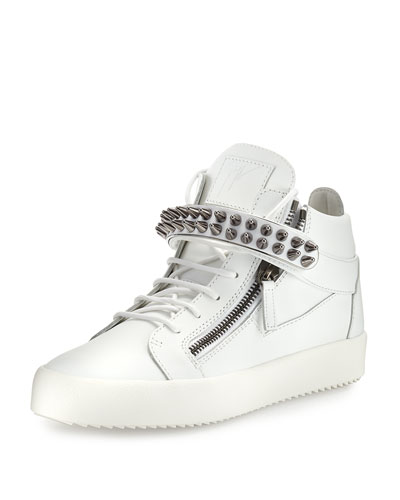 Men's Studded Leather Mid-Top Sneaker