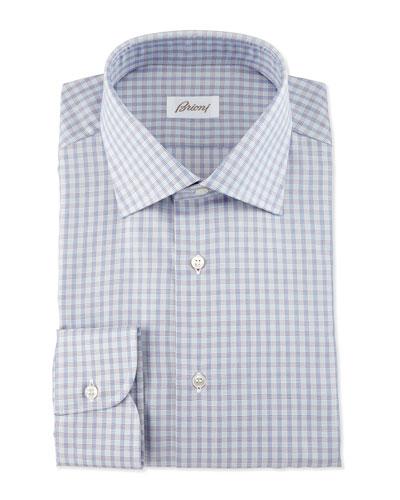 Shadow-Check Long-Sleeve Dress Shirt, Burgundy/Navy/Gray