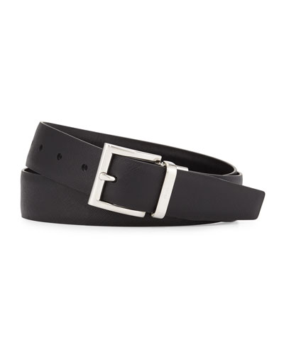 Saffiano/Smooth Leather Reversible Belt