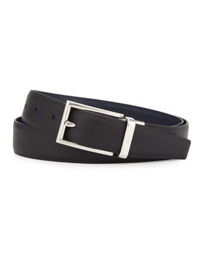 Saffiano Reversible Belt, Black/Blue