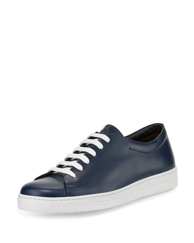 Calf Leather Low-Top Sneaker, Blue