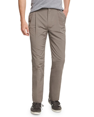 Pleated-Front Straight-Leg Trousers, Mocha