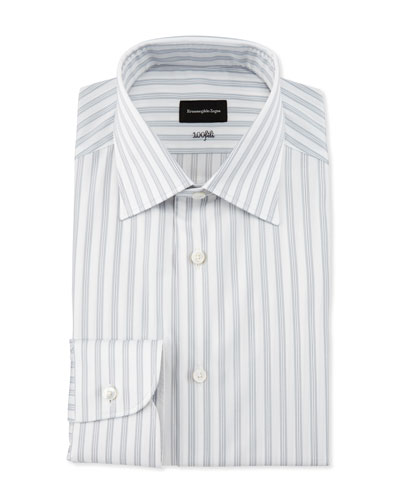 Bold Stripe Dress Shirt, White