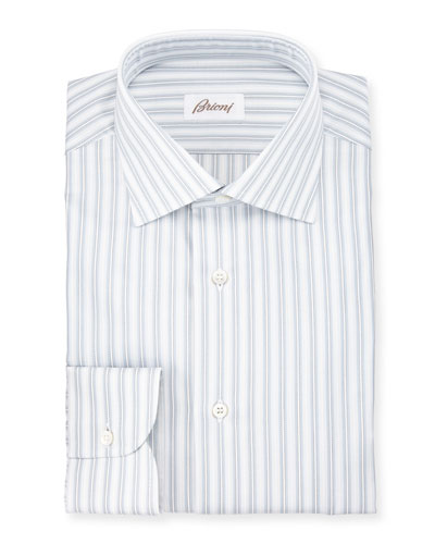 Oxford-Stripe Dress Shirt, White