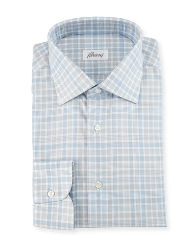 Check Dress Shirt, White/Blue/Gray