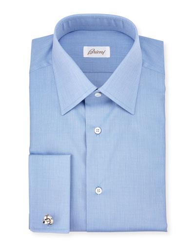 End-on-End French-Cuff Dress Shirt, Blue