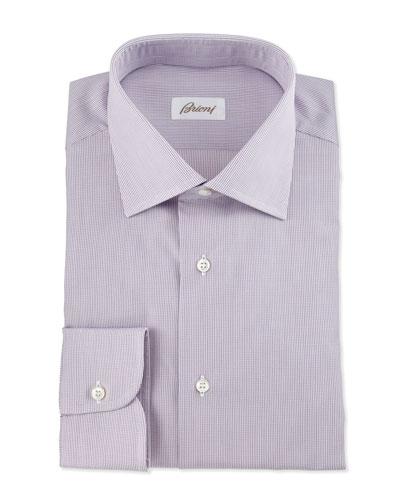 Micro-Check Dress Shirt, Burgundy