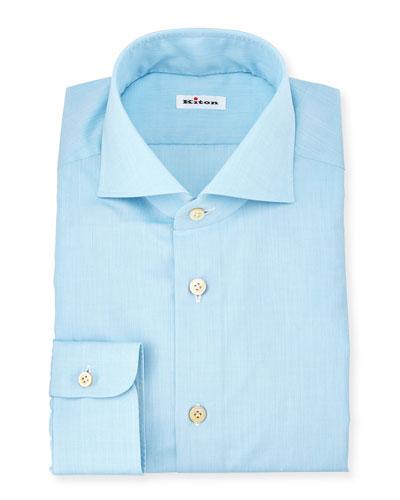 Solid Poplin Dress Shirt, Aqua