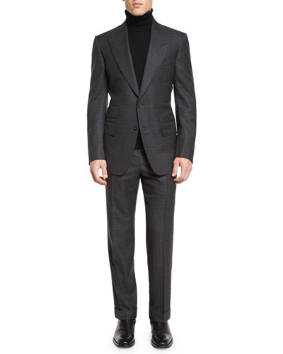 Windsor Base Windowpane Two-Piece Suit, Gray
