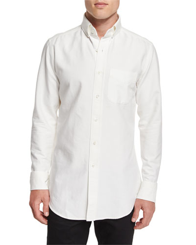 Tailored-Fit Washed Oxford Dress Shirt, White