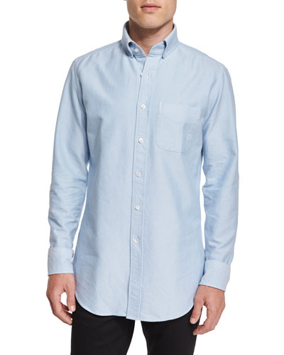 Tailored-Fit Washed Oxford Dress Shirt, Light Blue