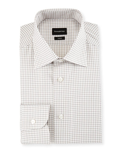 Trofeo Slim-Fit Box-Check Dress Shirt, Gray