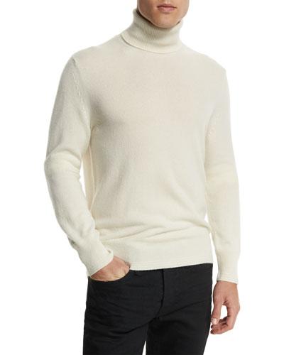 Classic Flat-Knit Cashmere Turtleneck Sweater, Ivory