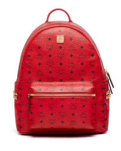 Stark Men's Side Stud Medium Backpack, Ruby Red