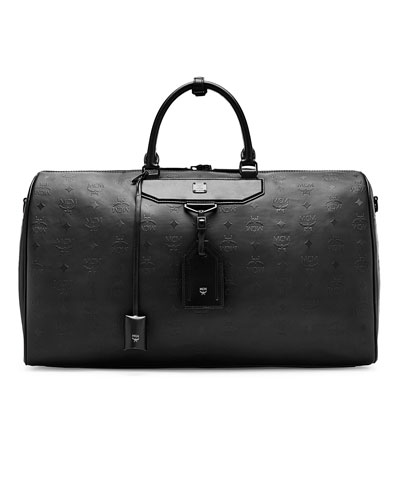 MCM Nomad Coated Large Leather Weekend Bag, Black