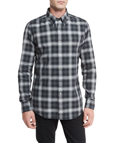 Plaid Oxford Shirt, Gray/Black