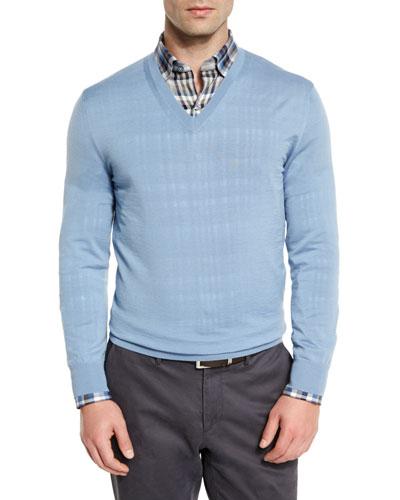 High-Performance Wool V-Neck Sweater, Light Blue