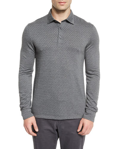 Flannel Herringbone Long-Sleeve Polo Shirt, Gray